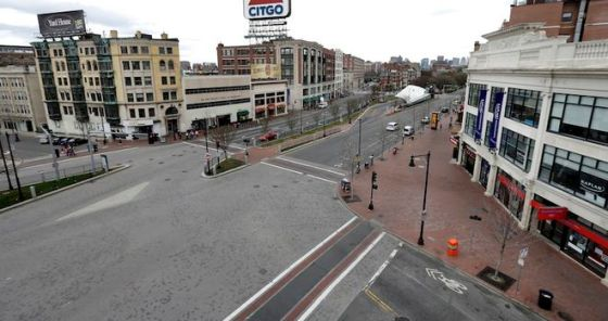 Kenmore Square during the lockdown. (AP Photo/Elise Amendola)